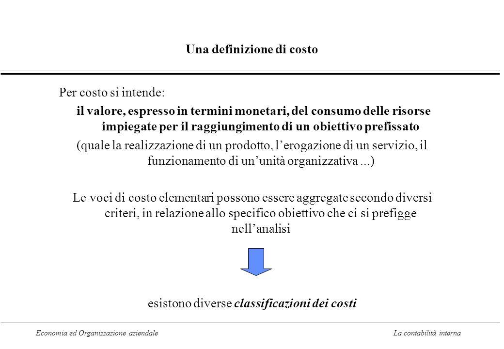 Economia ed Organizzazione aziendaleLa contabilità interna Una definizione di costo Per costo si intende: il valore, espresso in termini monetari, del