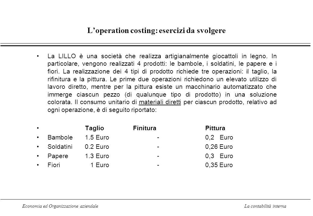 Economia ed Organizzazione aziendaleLa contabilità interna Loperation costing: esercizi da svolgere La LILLO è una società che realizza artigianalment