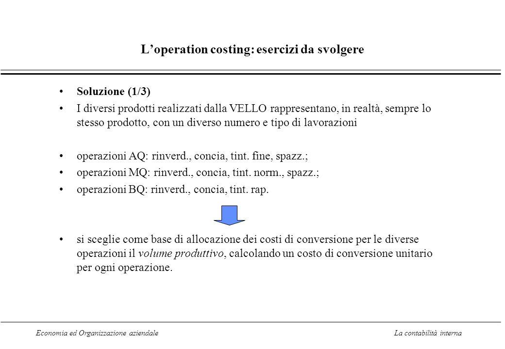 Economia ed Organizzazione aziendaleLa contabilità interna Loperation costing: esercizi da svolgere Soluzione (1/3) I diversi prodotti realizzati dall