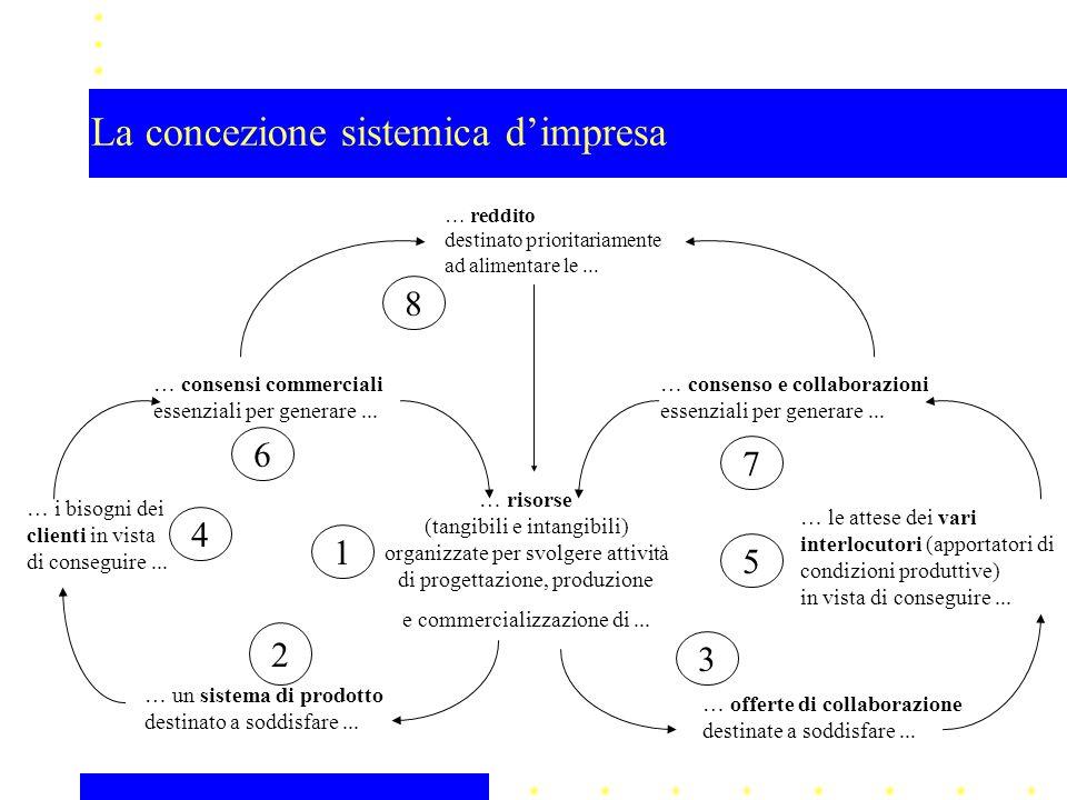 La concezione sistemica dimpresa … reddito destinato prioritariamente ad alimentare le... … risorse (tangibili e intangibili) organizzate per svolgere