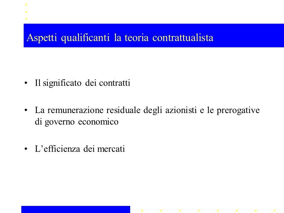 Aspetti qualificanti la teoria contrattualista Il significato dei contratti La remunerazione residuale degli azionisti e le prerogative di governo eco