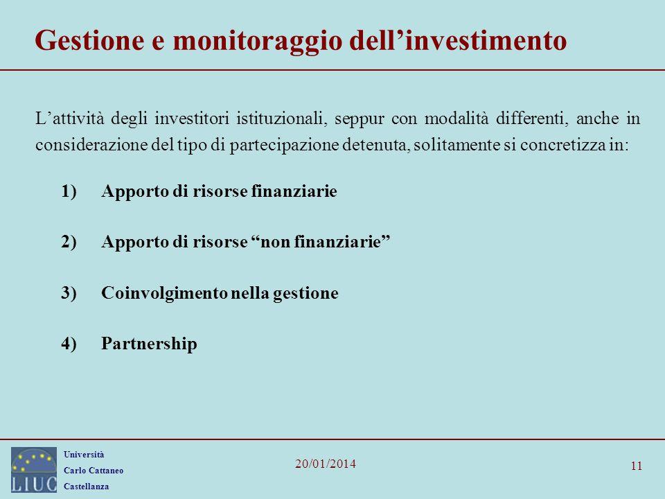 Università Carlo Cattaneo Castellanza 20/01/2014 11 Gestione e monitoraggio dellinvestimento Lattività degli investitori istituzionali, seppur con mod