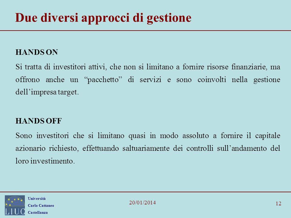 Università Carlo Cattaneo Castellanza 20/01/2014 12 Due diversi approcci di gestione HANDS ON Si tratta di investitori attivi, che non si limitano a f
