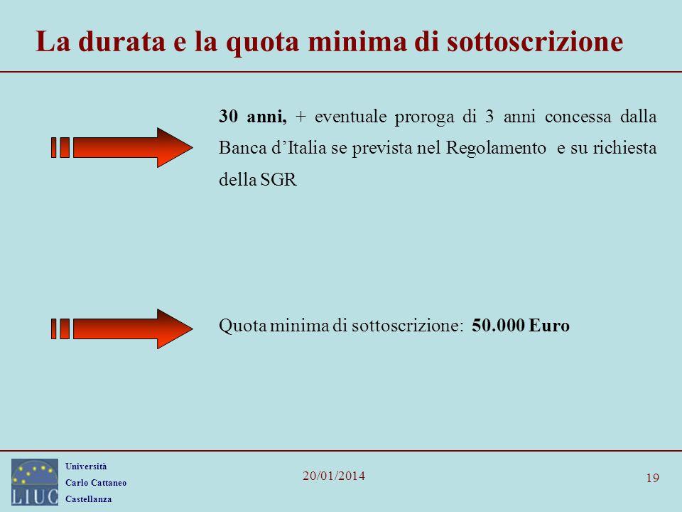 Università Carlo Cattaneo Castellanza 20/01/2014 19 La durata e la quota minima di sottoscrizione 30 anni, + eventuale proroga di 3 anni concessa dall