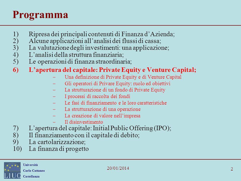 Università Carlo Cattaneo Castellanza 20/01/2014 2 Programma 1)Ripresa dei principali contenuti di Finanza dAzienda; 2)Alcune applicazioni allanalisi