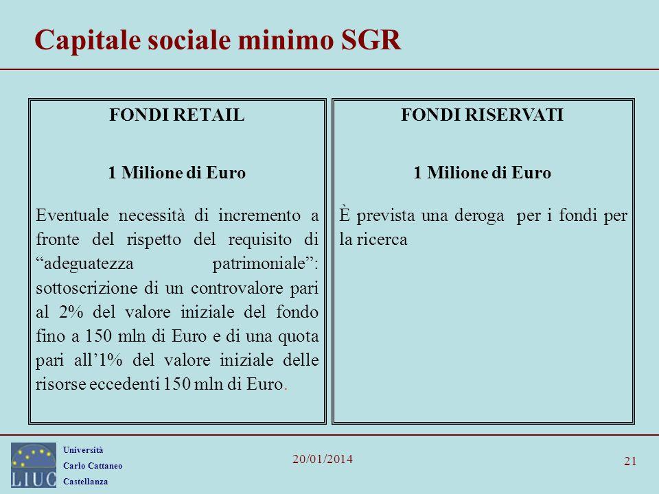 Università Carlo Cattaneo Castellanza 20/01/2014 21 Capitale sociale minimo SGR FONDI RETAIL 1 Milione di Euro Eventuale necessità di incremento a fro