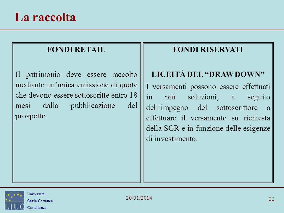 Università Carlo Cattaneo Castellanza 20/01/2014 22 La raccolta FONDI RETAIL Il patrimonio deve essere raccolto mediante ununica emissione di quote ch