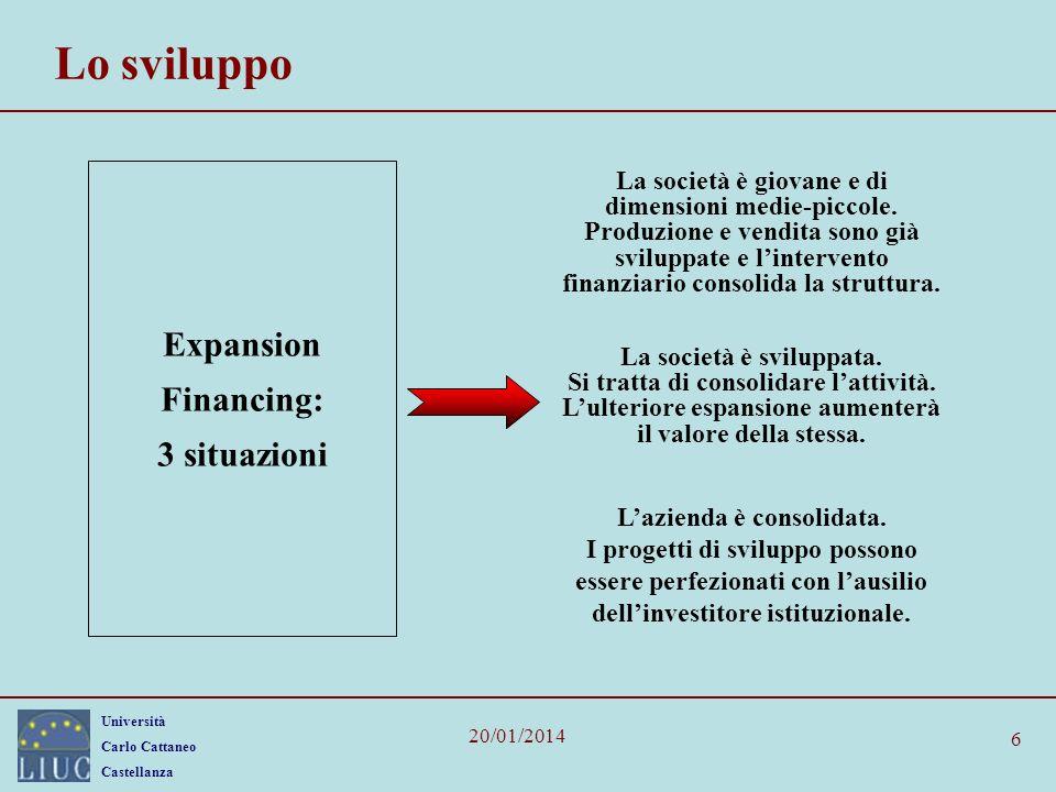 Università Carlo Cattaneo Castellanza 20/01/2014 6 Lo sviluppo Expansion Financing: 3 situazioni La società è giovane e di dimensioni medie-piccole. P