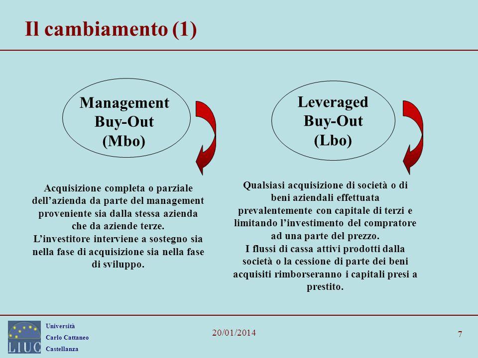 Università Carlo Cattaneo Castellanza 20/01/2014 7 Il cambiamento (1) Management Buy-Out (Mbo) Leveraged Buy-Out (Lbo) Acquisizione completa o parzial