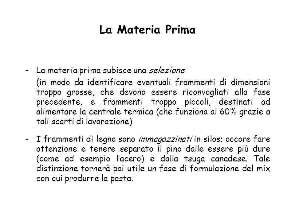 La Materia Prima -La materia prima subisce una selezione (in modo da identificare eventuali frammenti di dimensioni troppo grosse, che devono essere r