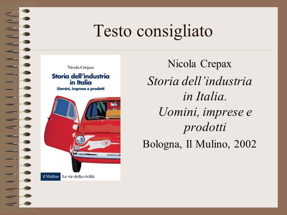 Testo consigliato Nicola Crepax Storia dellindustria in Italia.