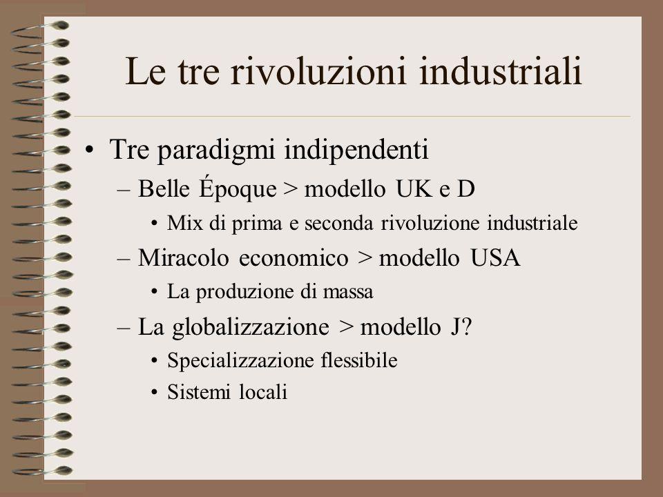 Le tre rivoluzioni industriali Tre paradigmi indipendenti –Belle Époque > modello UK e D Mix di prima e seconda rivoluzione industriale –Miracolo economico > modello USA La produzione di massa –La globalizzazione > modello J.