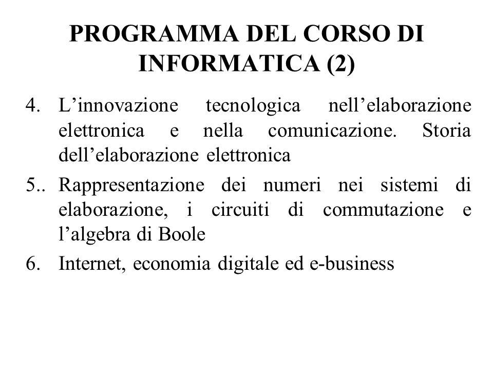 PROGRAMMA DEL CORSO DI INFORMATICA (2) 4.Linnovazione tecnologica nellelaborazione elettronica e nella comunicazione.