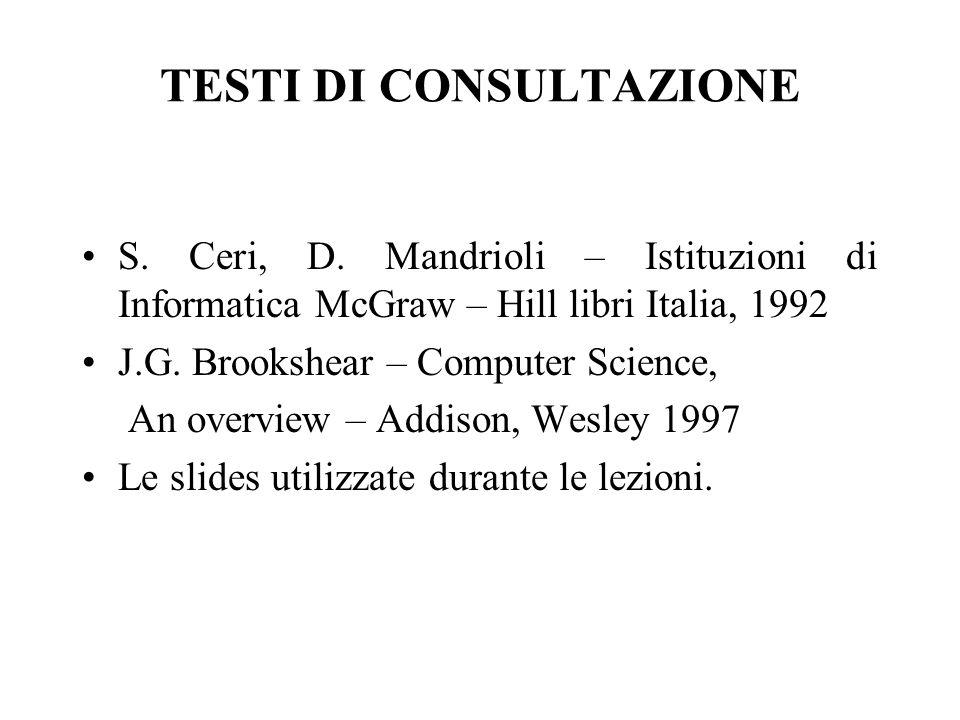 TESTI DI CONSULTAZIONE S. Ceri, D.