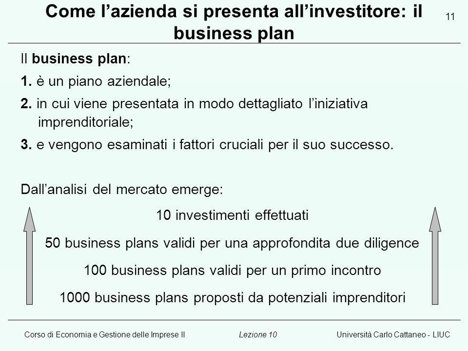 Corso di Economia e Gestione delle Imprese IIUniversità Carlo Cattaneo - LIUCLezione 10 11 Come lazienda si presenta allinvestitore: il business plan