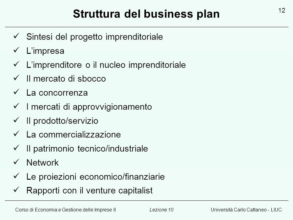 Corso di Economia e Gestione delle Imprese IIUniversità Carlo Cattaneo - LIUCLezione 10 12 Struttura del business plan Sintesi del progetto imprendito
