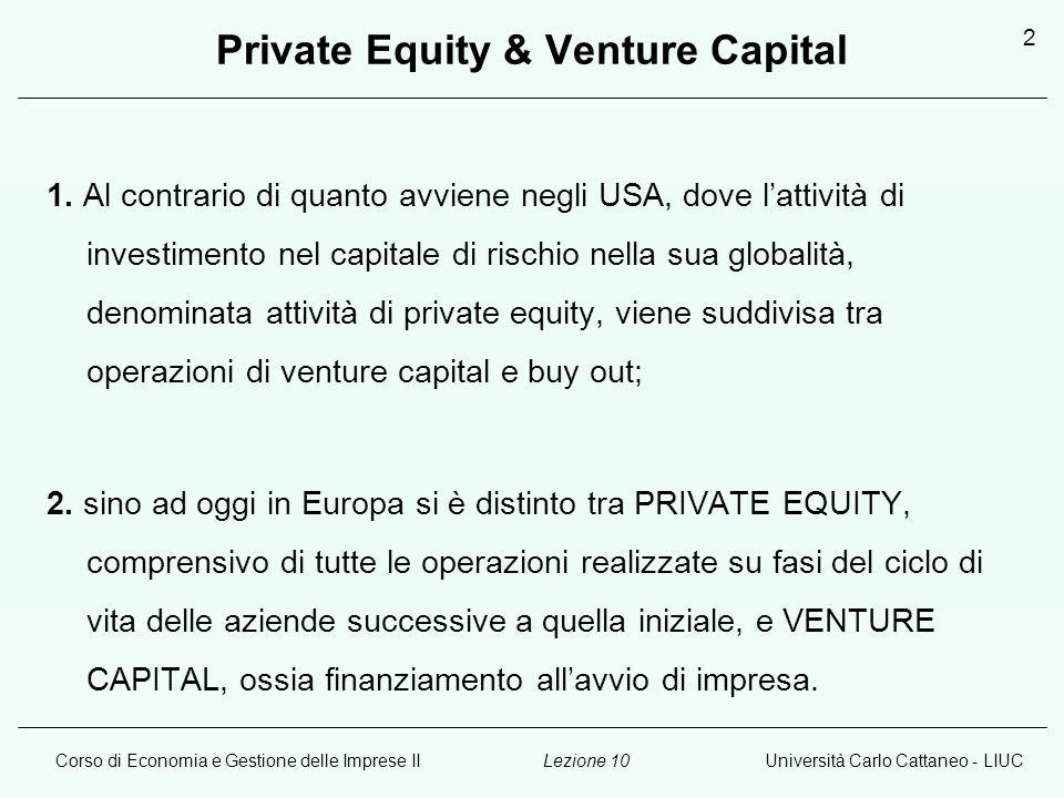 Corso di Economia e Gestione delle Imprese IIUniversità Carlo Cattaneo - LIUCLezione 10 2 Private Equity & Venture Capital 1. Al contrario di quanto a