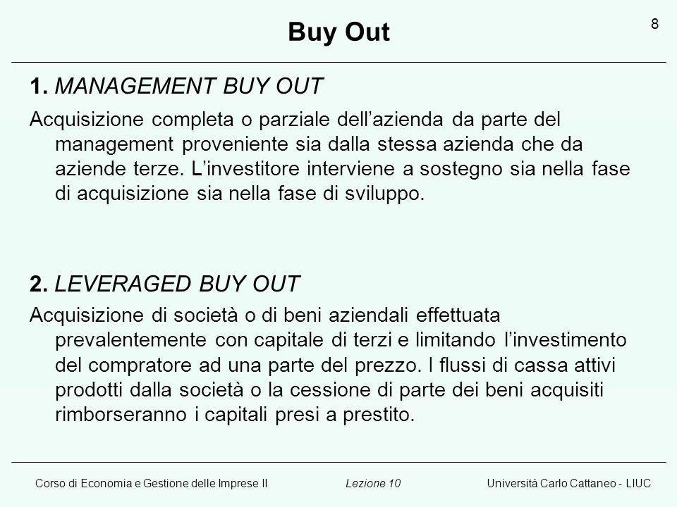 Corso di Economia e Gestione delle Imprese IIUniversità Carlo Cattaneo - LIUCLezione 10 8 Buy Out 1. MANAGEMENT BUY OUT Acquisizione completa o parzia