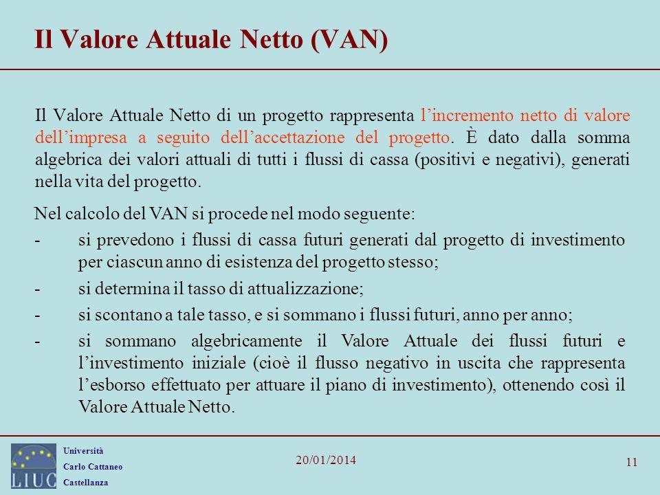 Università Carlo Cattaneo Castellanza 20/01/2014 11 Il Valore Attuale Netto (VAN) Il Valore Attuale Netto di un progetto rappresenta lincremento netto di valore dellimpresa a seguito dellaccettazione del progetto.