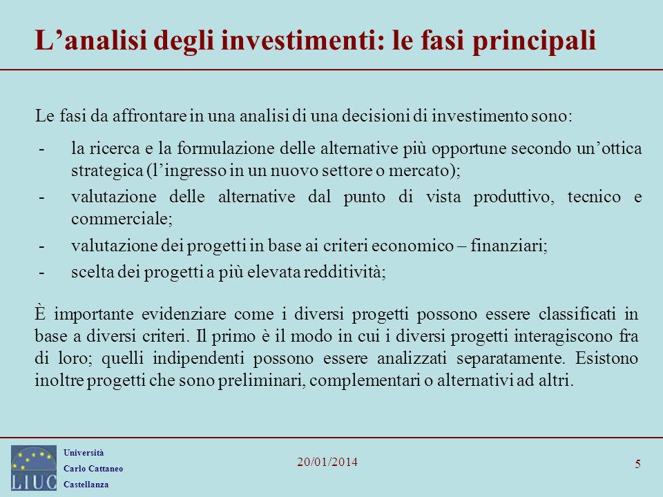 Università Carlo Cattaneo Castellanza 20/01/2014 5 Lanalisi degli investimenti: le fasi principali Le fasi da affrontare in una analisi di una decisio