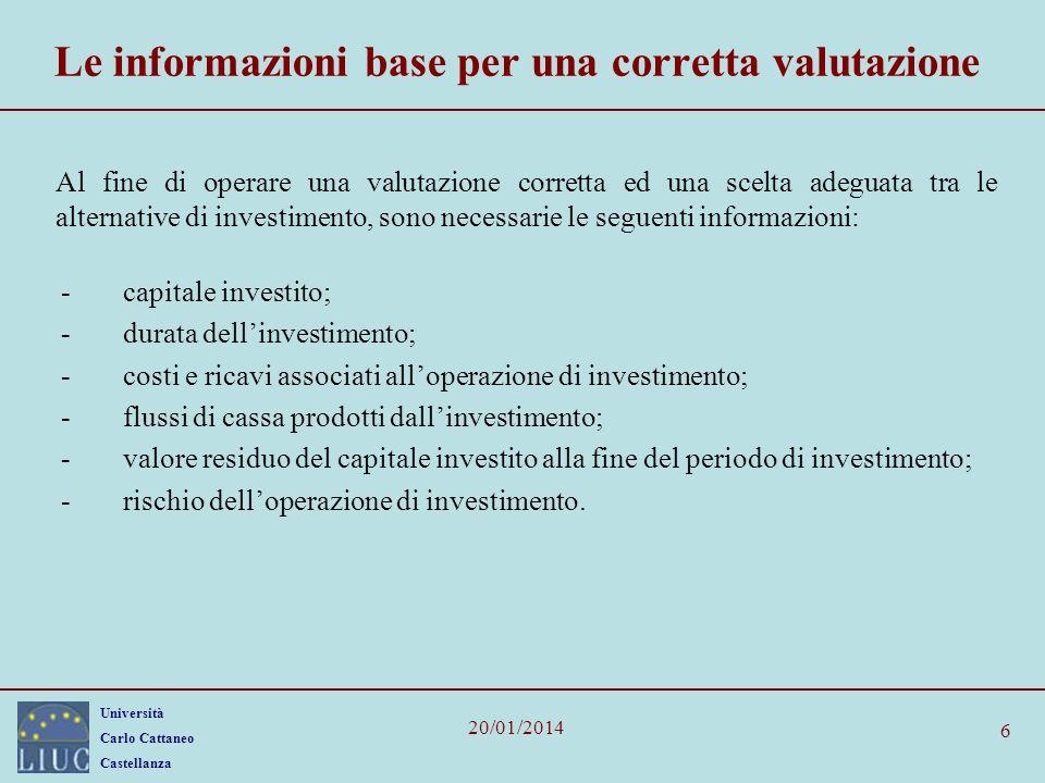 Università Carlo Cattaneo Castellanza 20/01/2014 6 Le informazioni base per una corretta valutazione Al fine di operare una valutazione corretta ed un