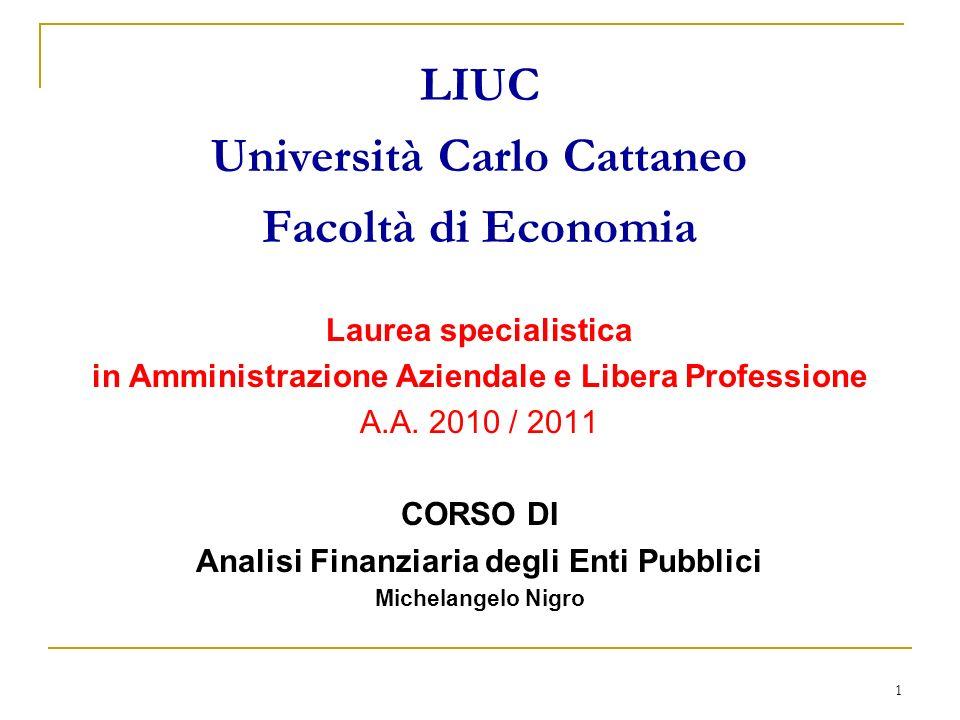 1 LIUC Università Carlo Cattaneo Facoltà di Economia Laurea specialistica in Amministrazione Aziendale e Libera Professione A.A. 2010 / 2011 CORSO DI