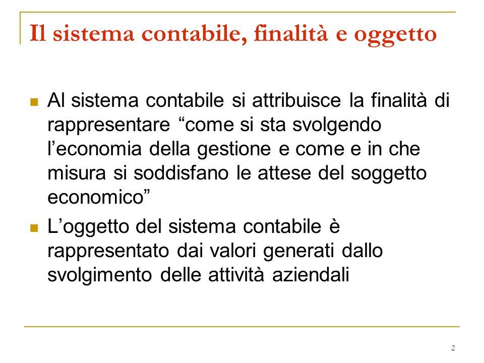 2 Al sistema contabile si attribuisce la finalità di rappresentare come si sta svolgendo leconomia della gestione e come e in che misura si soddisfano
