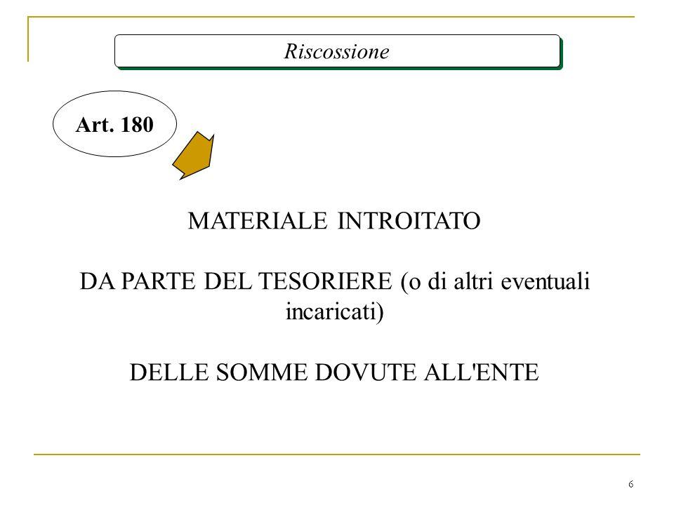 6 Riscossione MATERIALE INTROITATO DA PARTE DEL TESORIERE (o di altri eventuali incaricati) DELLE SOMME DOVUTE ALL'ENTE Art. 180