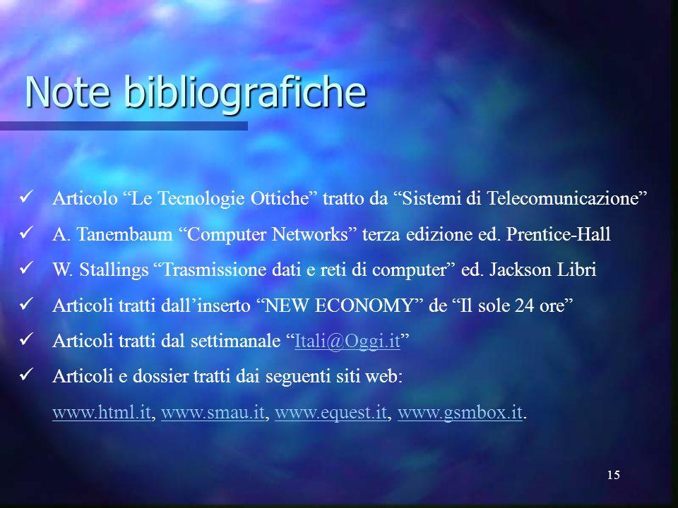 15 Note bibliografiche Articolo Le Tecnologie Ottiche tratto da Sistemi di Telecomunicazione A. Tanembaum Computer Networks terza edizione ed. Prentic