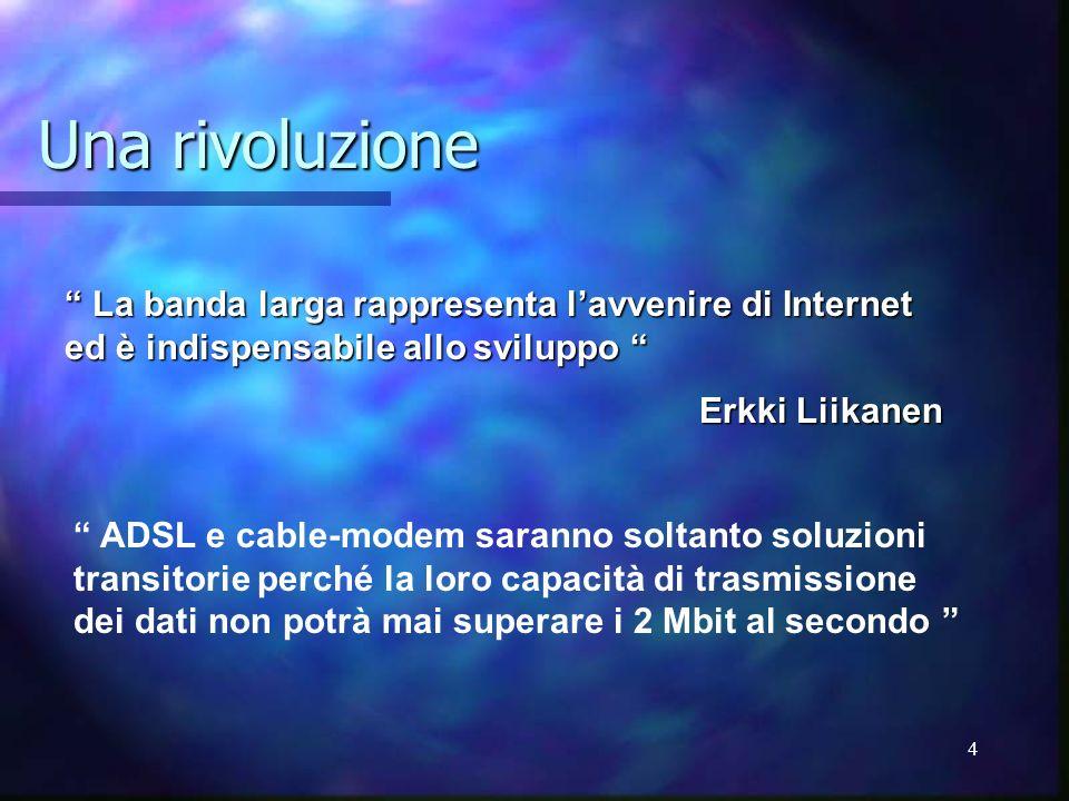 4 Una rivoluzione La banda larga rappresenta lavvenire di Internet ed è indispensabile allo sviluppo La banda larga rappresenta lavvenire di Internet