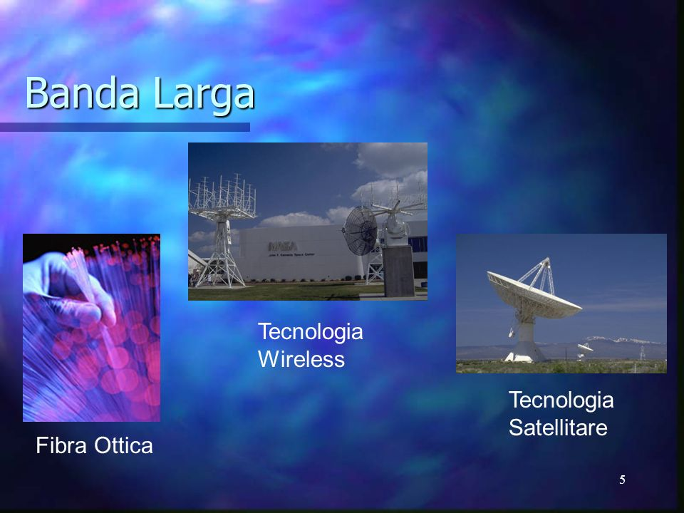 5 Banda Larga Fibra Ottica Tecnologia Satellitare Tecnologia Wireless