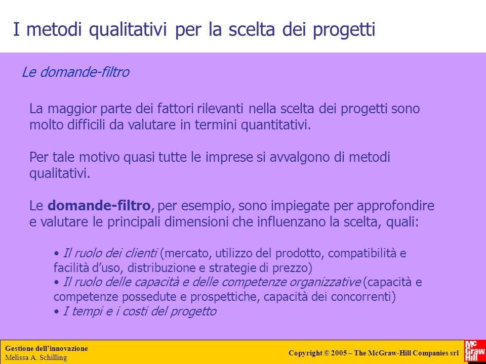 Gestione dellinnovazione Melissa A. Schilling Copyright © 2005 – The McGraw-Hill Companies srl I metodi qualitativi per la scelta dei progetti Le doma