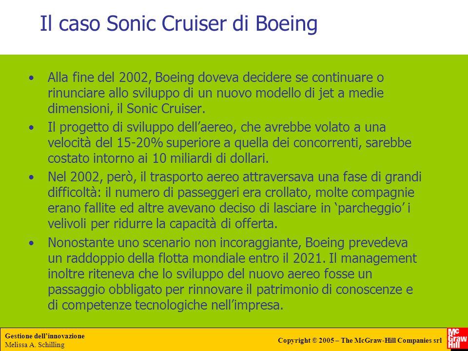 Gestione dellinnovazione Melissa A. Schilling Copyright © 2005 – The McGraw-Hill Companies srl Il caso Sonic Cruiser di Boeing Alla fine del 2002, Boe