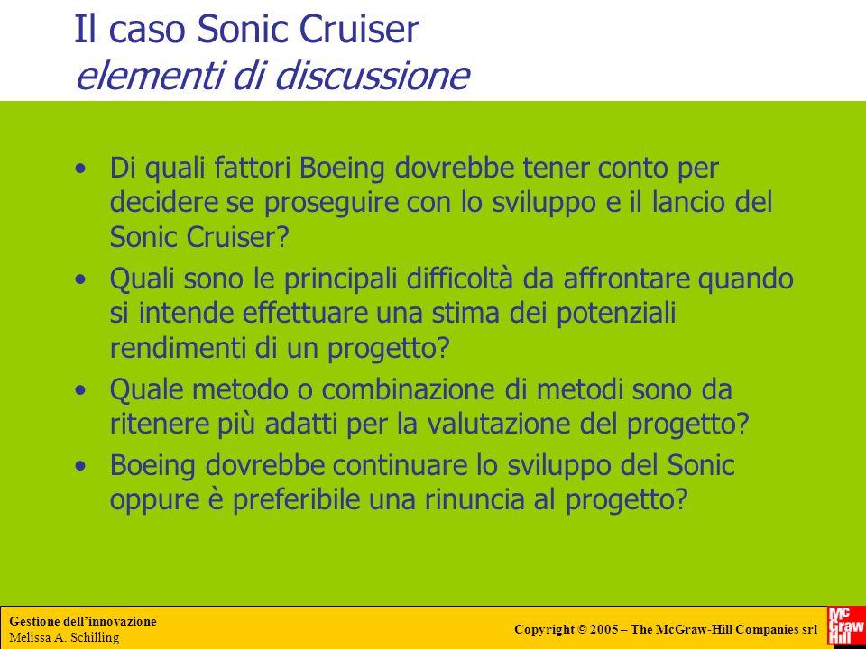 Gestione dellinnovazione Melissa A. Schilling Copyright © 2005 – The McGraw-Hill Companies srl Il caso Sonic Cruiser elementi di discussione Di quali