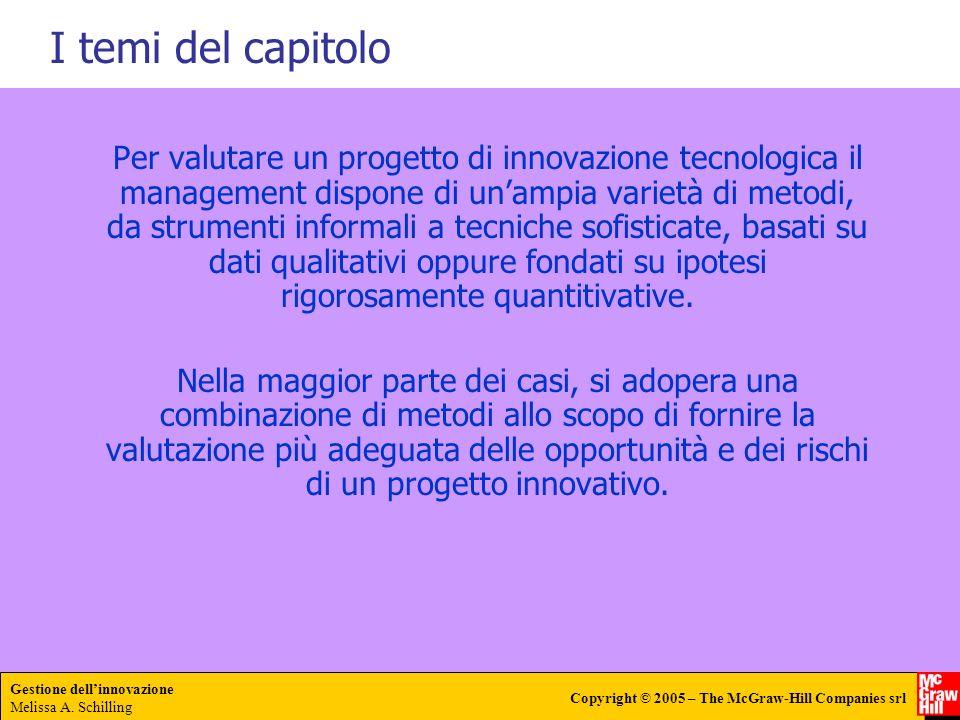 Gestione dellinnovazione Melissa A. Schilling Copyright © 2005 – The McGraw-Hill Companies srl Per valutare un progetto di innovazione tecnologica il