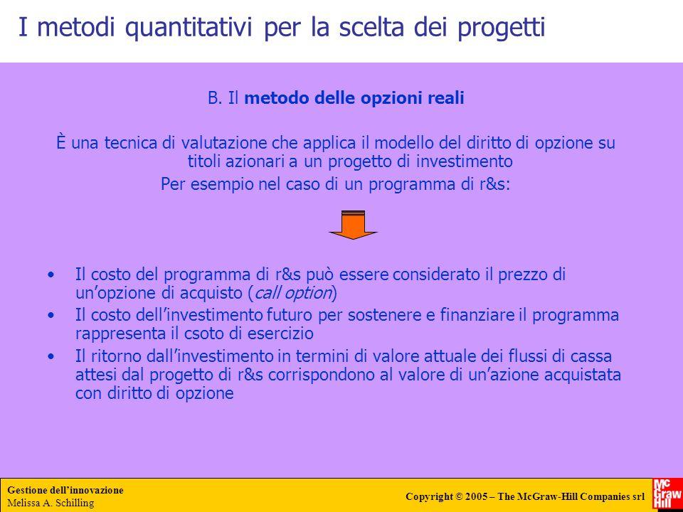 Gestione dellinnovazione Melissa A. Schilling Copyright © 2005 – The McGraw-Hill Companies srl I metodi quantitativi per la scelta dei progetti B. Il