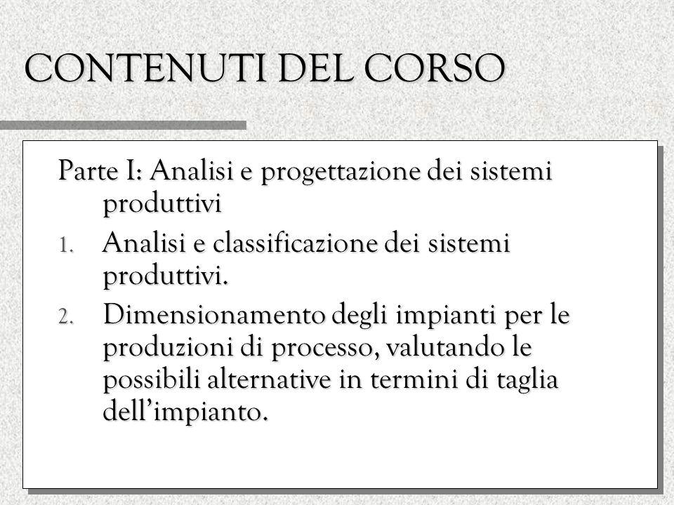 CONTENUTI DEL CORSO Parte I: Analisi e progettazione dei sistemi produttivi 1.
