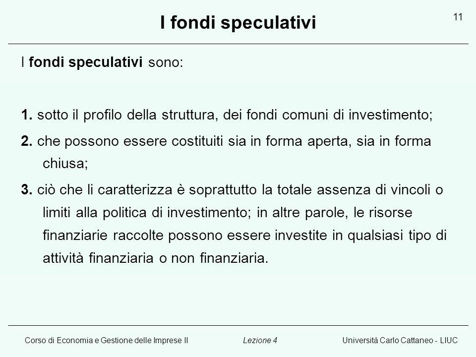 Corso di Economia e Gestione delle Imprese IIUniversità Carlo Cattaneo - LIUCLezione 4 11 I fondi speculativi I fondi speculativi sono: 1.