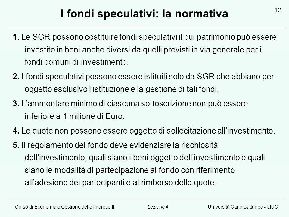 Corso di Economia e Gestione delle Imprese IIUniversità Carlo Cattaneo - LIUCLezione 4 12 I fondi speculativi: la normativa 1.