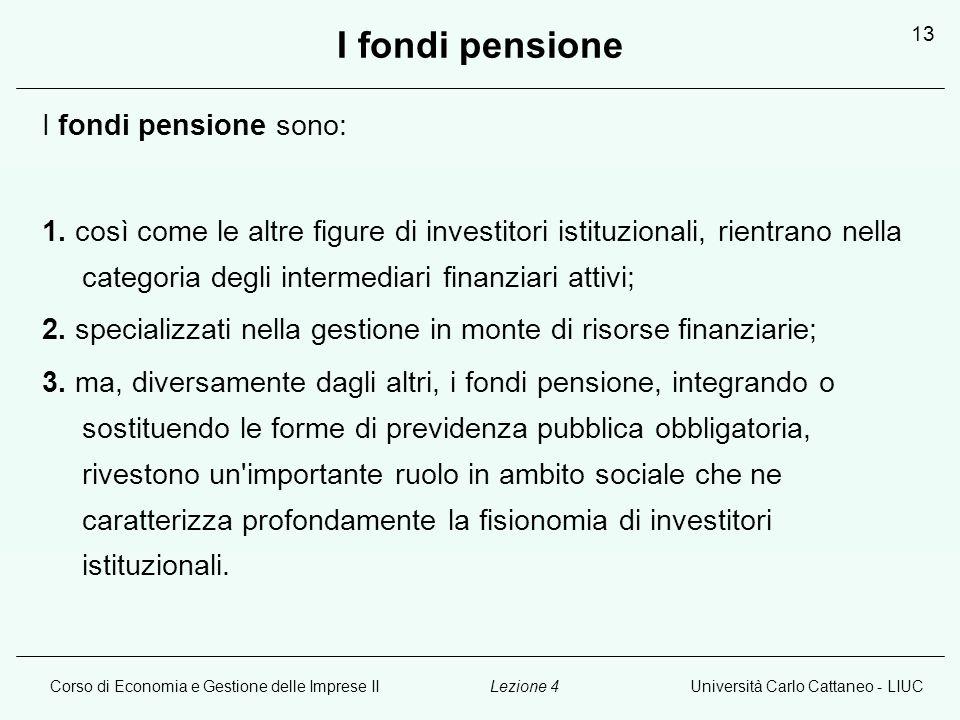 Corso di Economia e Gestione delle Imprese IIUniversità Carlo Cattaneo - LIUCLezione 4 13 I fondi pensione I fondi pensione sono: 1.