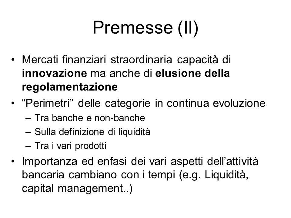 Premesse (II) Mercati finanziari straordinaria capacità di innovazione ma anche di elusione della regolamentazione Perimetri delle categorie in contin