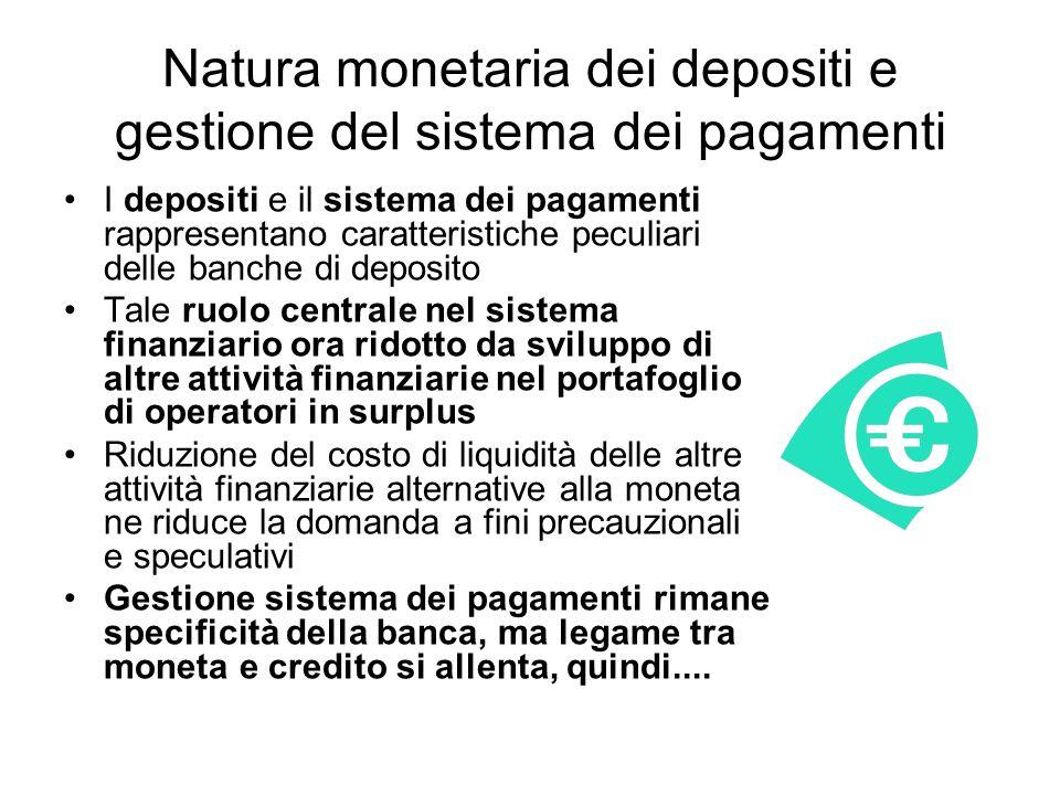 Natura monetaria dei depositi e gestione del sistema dei pagamenti I depositi e il sistema dei pagamenti rappresentano caratteristiche peculiari delle