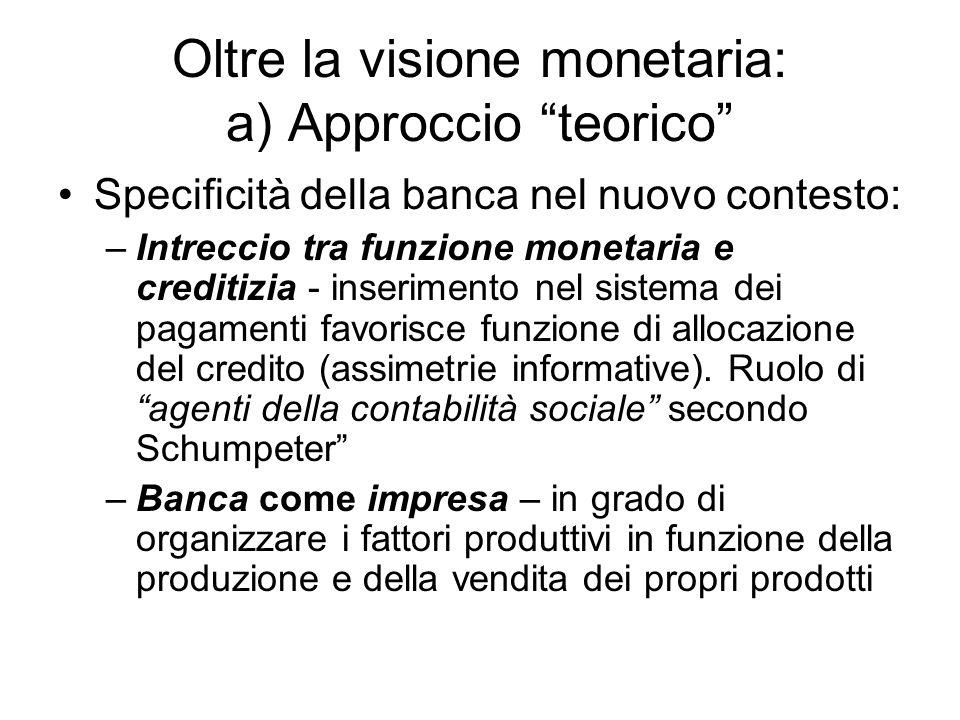 Oltre la visione monetaria: a) Approccio teorico Specificità della banca nel nuovo contesto: –Intreccio tra funzione monetaria e creditizia - inserime