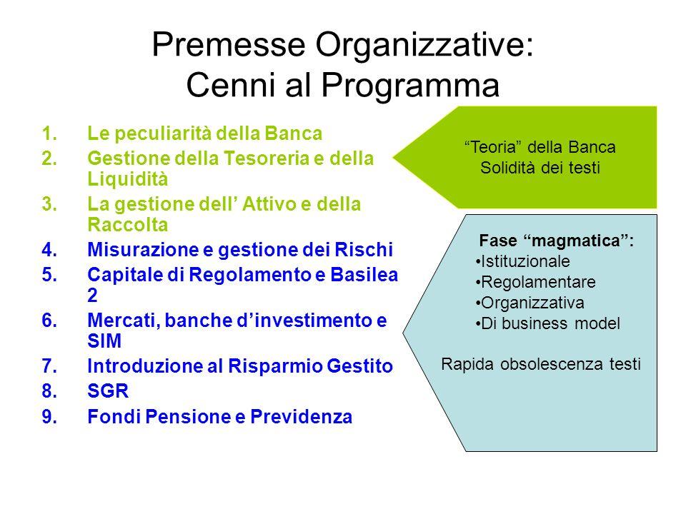 Premesse Organizzative: Cenni al Programma 1.Le peculiarità della Banca 2.Gestione della Tesoreria e della Liquidità 3.La gestione dell Attivo e della