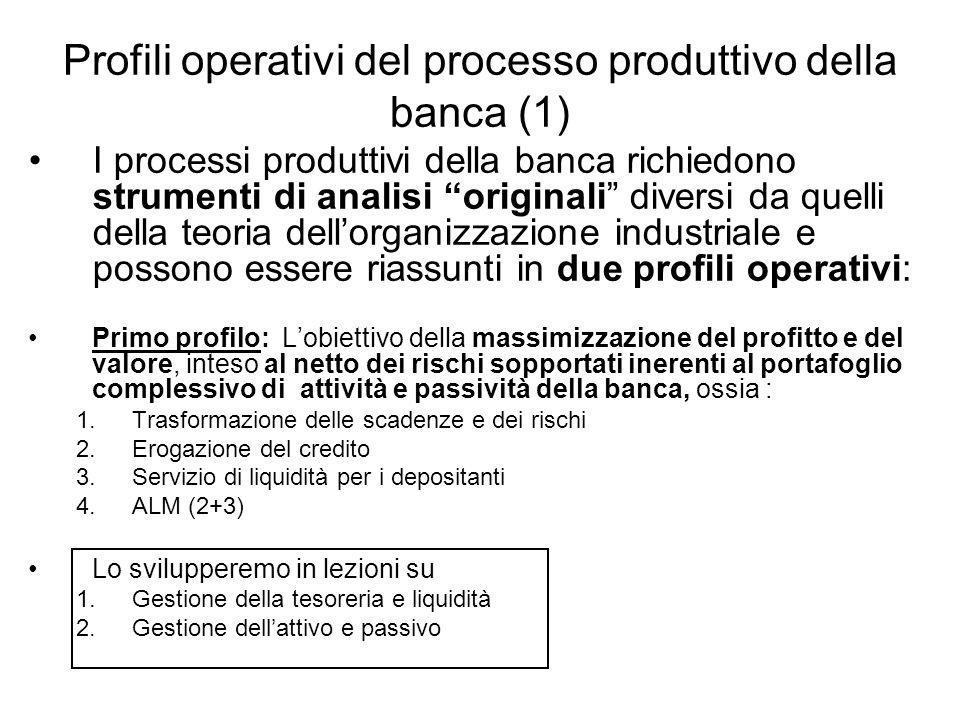 Profili operativi del processo produttivo della banca (1) I processi produttivi della banca richiedono strumenti di analisi originali diversi da quell