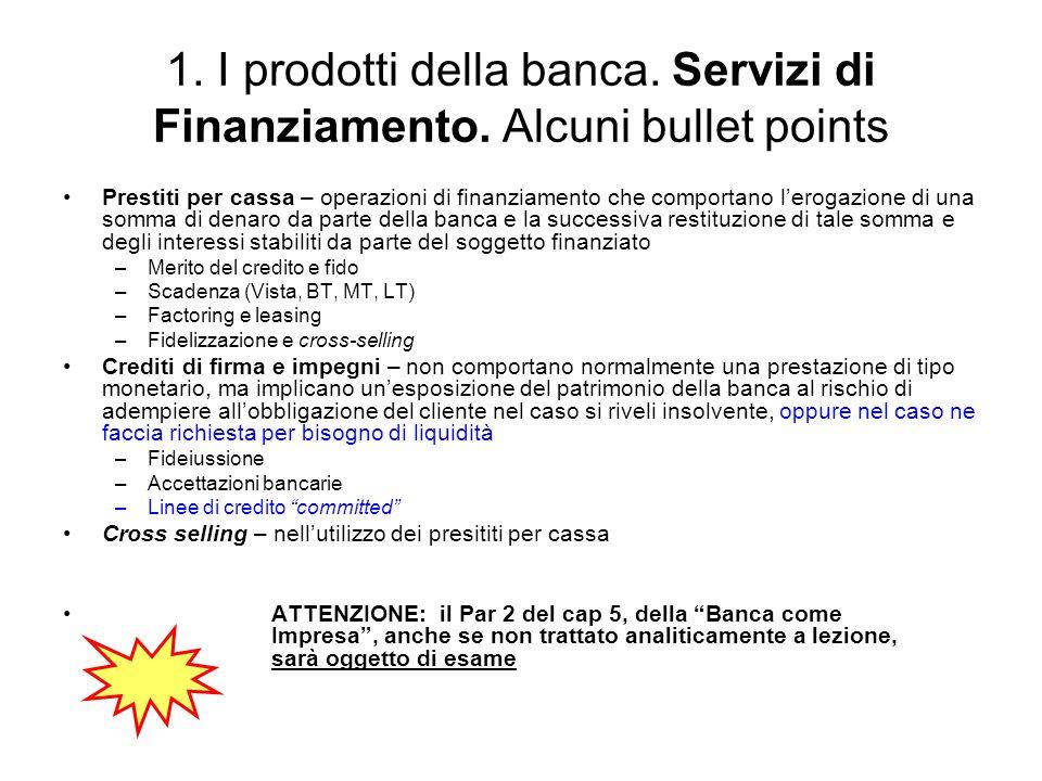 1. I prodotti della banca. Servizi di Finanziamento. Alcuni bullet points Prestiti per cassa – operazioni di finanziamento che comportano lerogazione
