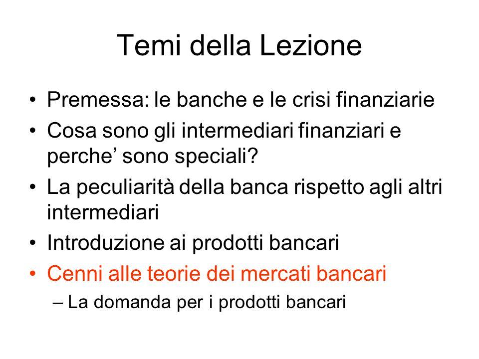 Temi della Lezione Premessa: le banche e le crisi finanziarie Cosa sono gli intermediari finanziari e perche sono speciali? La peculiarità della banca
