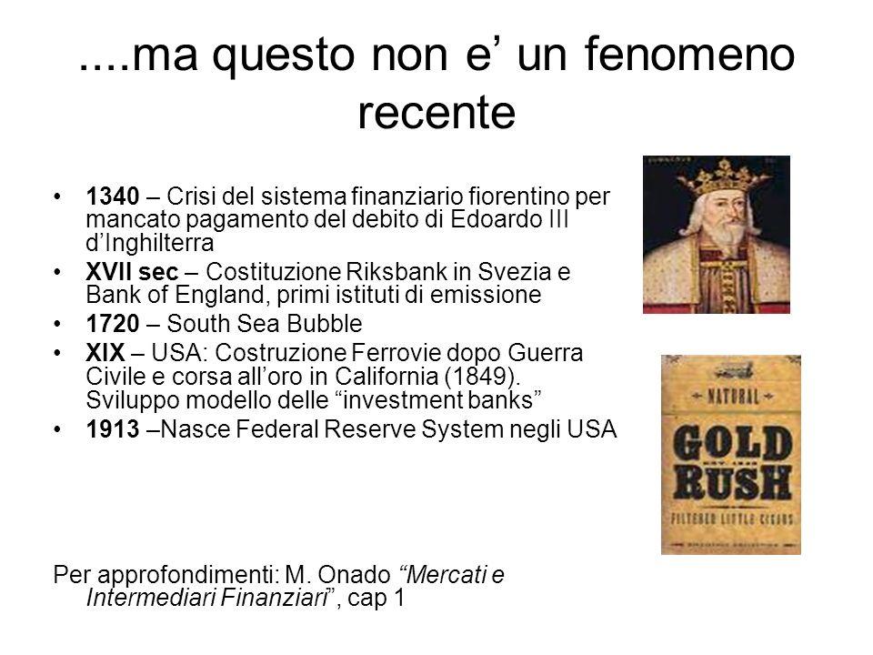 ....ma questo non e un fenomeno recente 1340 – Crisi del sistema finanziario fiorentino per mancato pagamento del debito di Edoardo III dInghilterra X