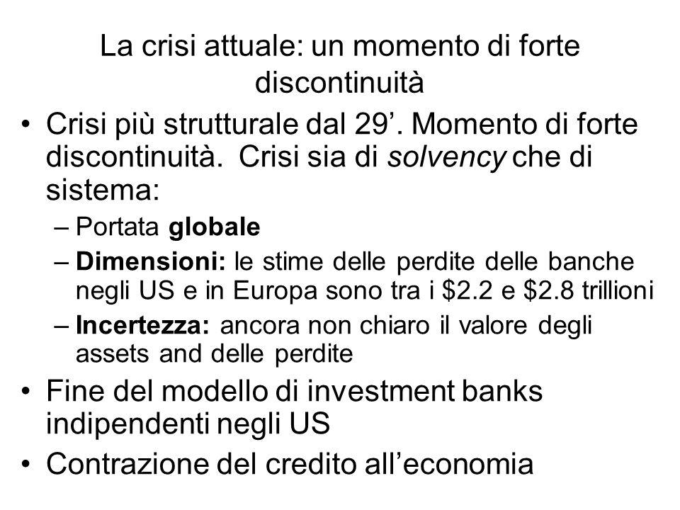 La crisi attuale: un momento di forte discontinuità Crisi più strutturale dal 29. Momento di forte discontinuità. Crisi sia di solvency che di sistema