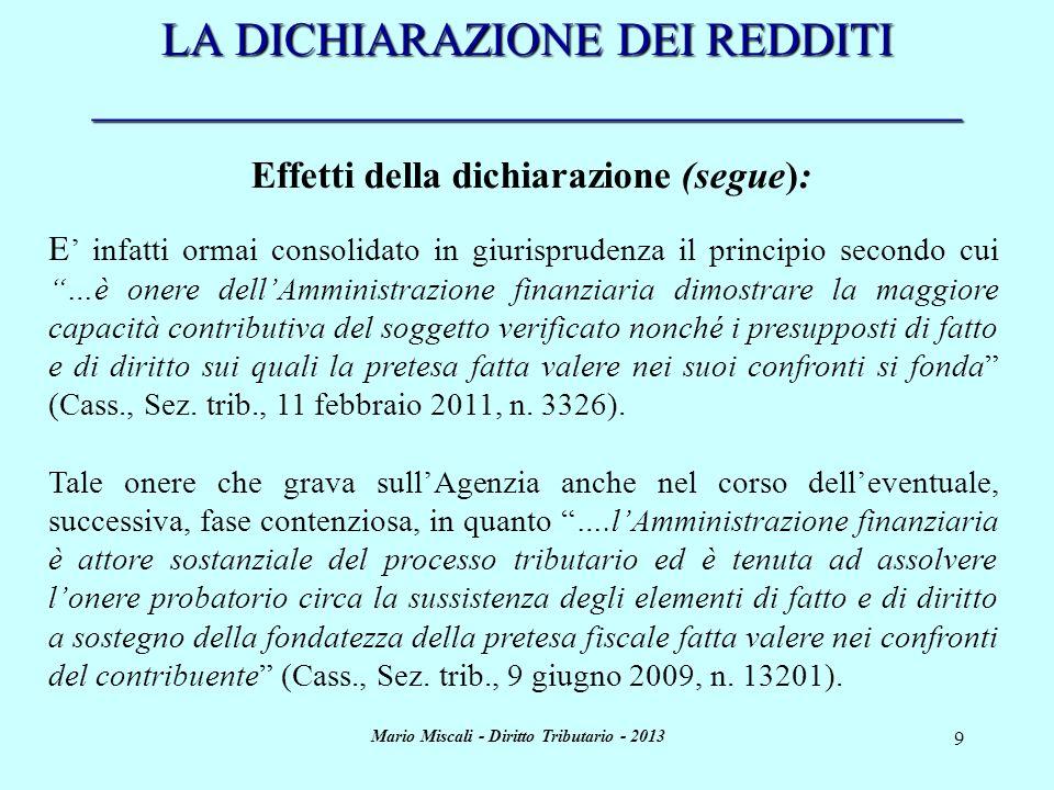 Mario Miscali - Diritto Tributario - 2013 10 LA DICHIARAZIONE DEI REDDITI _____________________________________ Effetti della dichiarazione (segue): Ulteriori effetto della dichiarazione dei redditi sono quelli connessi alla liquidazione dellimposta e allattività di riscossione.